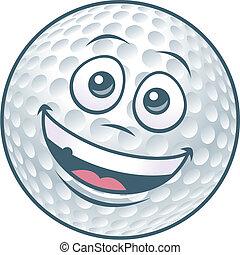 palla golf, carattere, cartone animato
