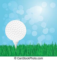 palla, golf, erba