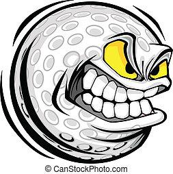 palla golf, faccia, cartone animato, vettore, immagine