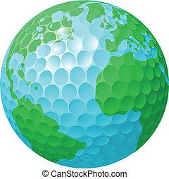 palla golf, globo mondo, concetto