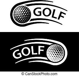 palla golf, movimento, linea, simbolo
