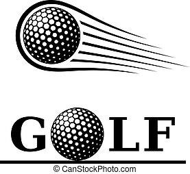 palla golf, movimento, linea, testo, simbolo