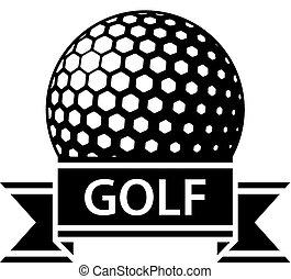 palla golf, nero, nastro, semplice, simbolo