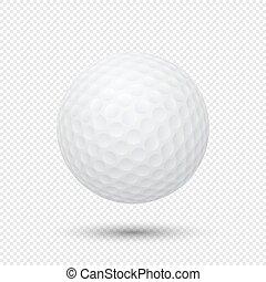 palla, golf, realistico, volare, isolato, fondo., vettore, closeup, sagoma, disegno, eps10., trasparente