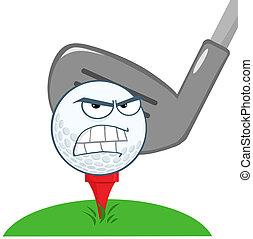 palla, golf, sopra, carattere, tee, arrabbiato