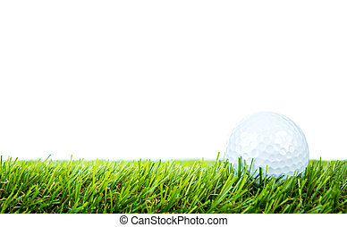 palla, golf, sopra, sfondo verde, bianco, erba