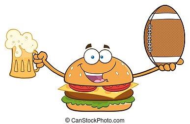 palla, hamburger, football, presa a terra
