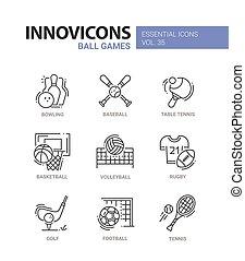 palla, icone, set., moderno, -, vettore, giochi, disegno, linea