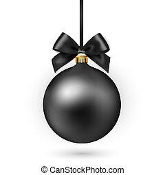 palla, illustration., arco, fondo., vettore, nero, natale bianco, nastro