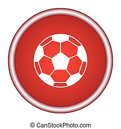 palla, illustration., fondo., vettore, calcio, rosso, icona