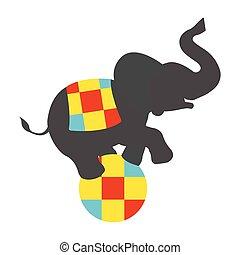 palla, illustration., vendemmia, circo, vettore, elefante, icon.