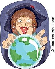 palla, illustrazione, cristallo, strega, terra, ragazza