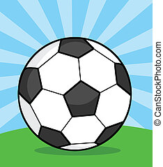 palla, illustrazione, erba, calcio