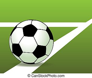 palla, illustrazione, field., calcio, vettore, verde