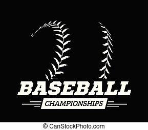 palla, illustrazione, fondo., vettore, baseball, nero