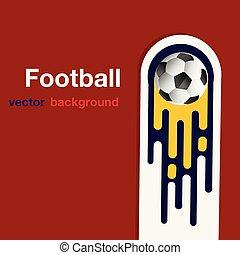 palla, immagine, volare, football, vettore, fondo, calcio, rosso