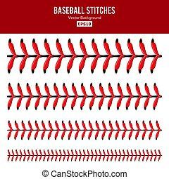 palla, laccio, set., isolato, sport, baseball, merletti, vector., punti, rosso, white.
