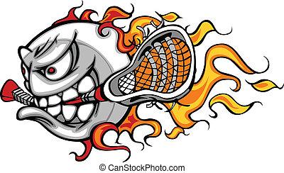 palla lacrosse, fiammeggiante, vettore, faccia