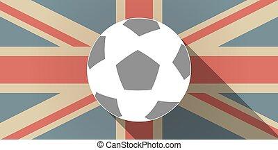 palla, lungo, bandiera, regno unito, uggia, calcio, icona