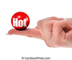 palla, mano, caldo, presa a terra, rosso, 3d