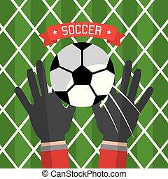 palla, mano, guanti, calcio, portiere, rosso