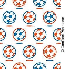 palla, modello, sopra, seamless, vettore, bianco, calcio