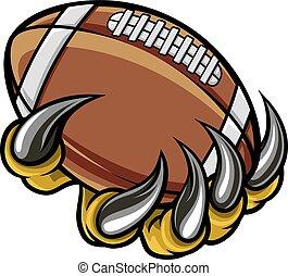 palla, mostro, animale, football, americano, presa a terra, artiglio