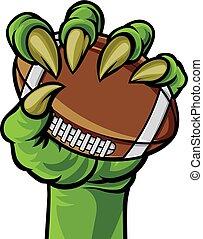palla, mostro, football, titolo portafoglio mano, artiglio