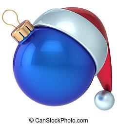 palla natale, blu, anno nuovo, santa