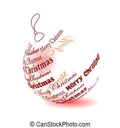 """palla natale, fatto, di, """"merry, christmas"""", frase, isolato"""