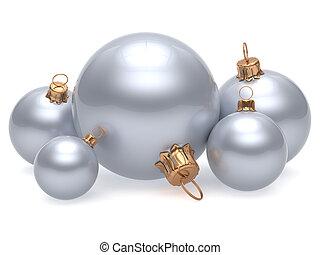 palla natale, ornamento, decorazione, bianco, anno nuovo, ornamento