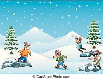 palla neve, bambini, gioco, felice