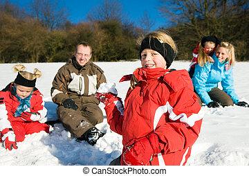 palla neve, detenere, famiglia, lotta