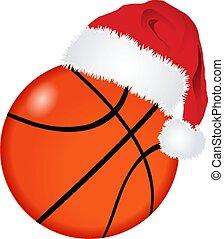 palla, pallacanestro, cappello, santa