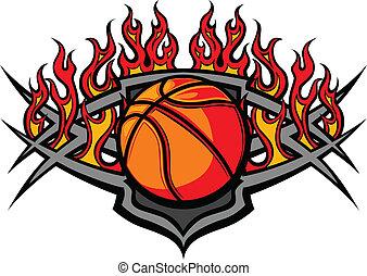 palla, pallacanestro, fiamma, sagoma