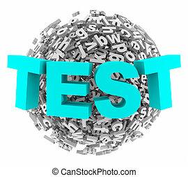 palla, parola, esame, illustrazione, quiz, sfera, lettera, prova, 3d