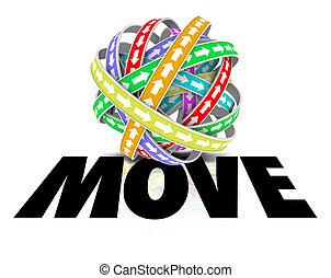 palla, parola, mobilità, spostare, frecce, movimento, sfera, avanti