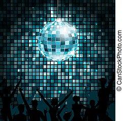 palla, persone, silhouette, luci disco, ardendo, fondo, festa, dance.