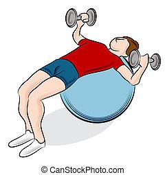 palla, peso, esercizio, idoneità