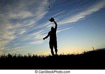 palla, proiettato, giusto, guanto, tramonto, presa, inizio,...