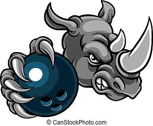 palla, rinoceronte, presa a terra, bowling