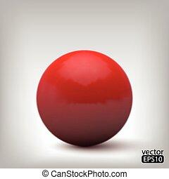 palla, rosso, 3d
