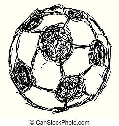 palla, scarabocchiare, mano, disegnato, calcio, icona