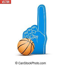 palla, schiuma, dita, sport, pallacanestro, ventilatore