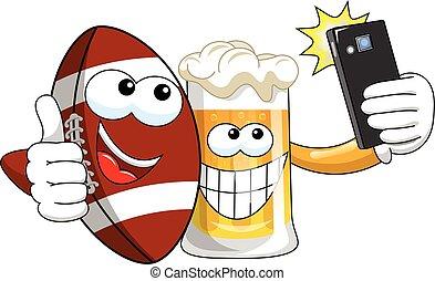 palla, selfie, football, isolato, cartone animato, birra, smartphone, americano, presa