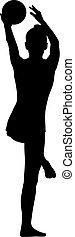 palla, silhouette, ginnasta, fondo, bianco, ragazza