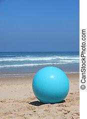 palla, sinistra, su, uno, spiaggia
