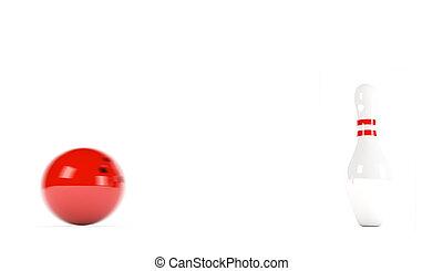 palla, skittles, offuscamento, -, movimento, bowling, rosso