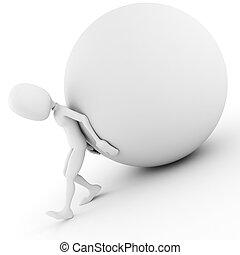 palla, spingendo, collina, uomo, 3d