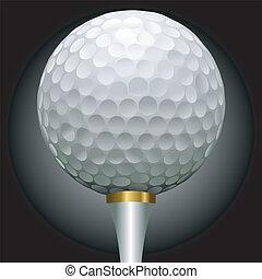 palla, tee golf, oro